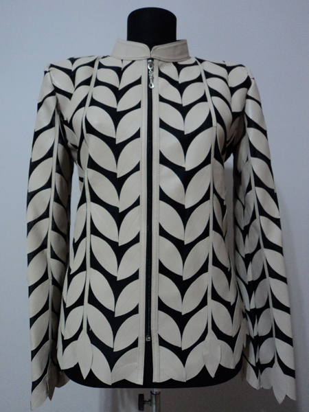 Beige Leather Leaf Jacket for Women Design 04 Genuine Short Zip Up Light Lightweight