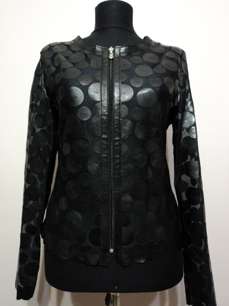 Black Leather Leaf Jacket for Women Design 07 Genuine Short Zip Up Light Lightweight [ Click to See Photos ]