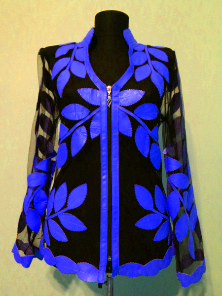 Blue Leather Leaf Jacket for Women V Neck Design 10 Genuine Short Zip Up Light Lightweight [ Click to See Photos ]