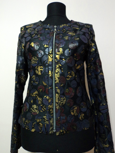 Gold Spotted Navy Blue Leather Leaf Jacket for Women Design 07 Genuine Short Zip Up Light Lightweight [ Click to See Photos ]
