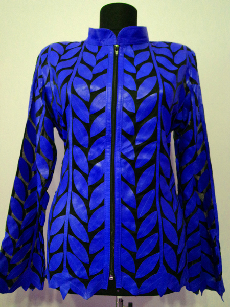 Plus Size Blue Leather Leaf Jacket for Women Design 04 Genuine Short Zip Up Light Lightweight [ Click to See Photos ]