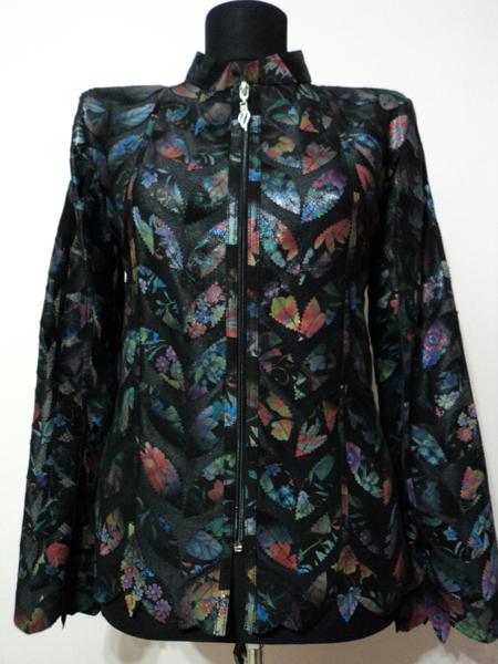 Plus Size Flower Pattern Black Leather Leaf Jacket for Women Design 04 Genuine Short Zip Up Light Lightweight [ Click to See Photos ]