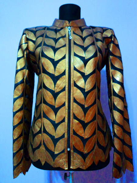Plus Size Gold Leather Leaf Jacket for Women Design 04 Genuine Short Zip Up Light Lightweight [ Click to See Photos ]