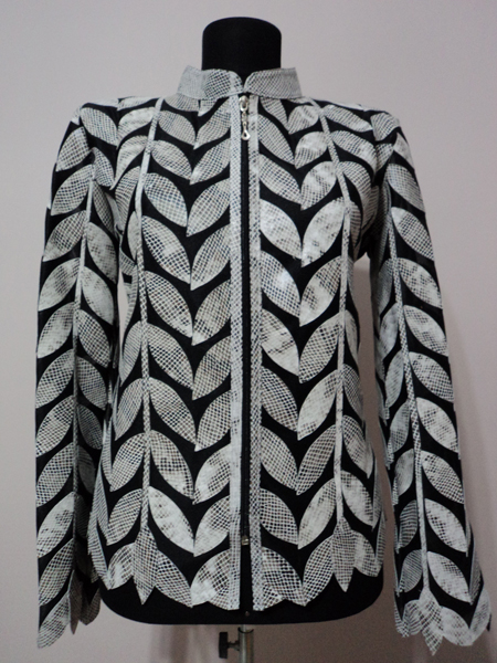 Plus Size White Snake Pattern Leather Leaf Jacket for Women Design 04 Genuine Short Zip Up Light Lightweight [ Click to See Photos ]