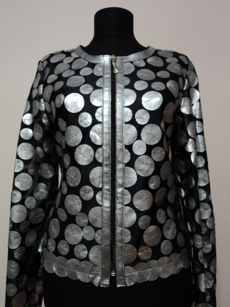 Silver Leather Leaf Jacket for Women Design 07 Genuine Short Zip Up Light Lightweight [ Click to See Photos ]