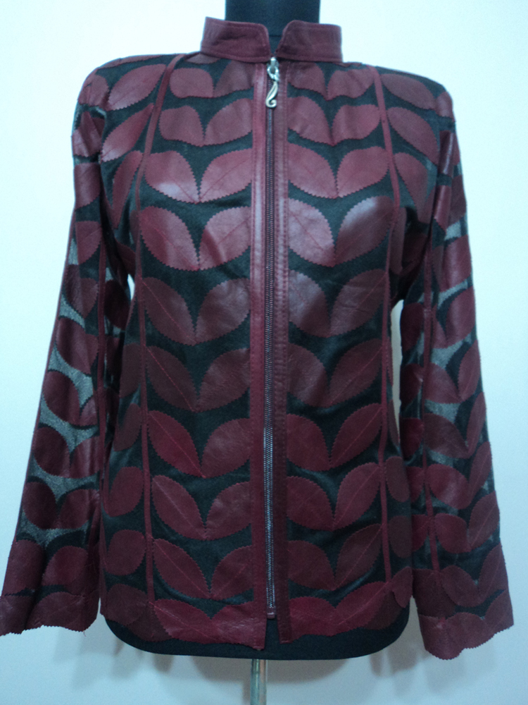 Womens Burgundy Leather Leaf Jacket