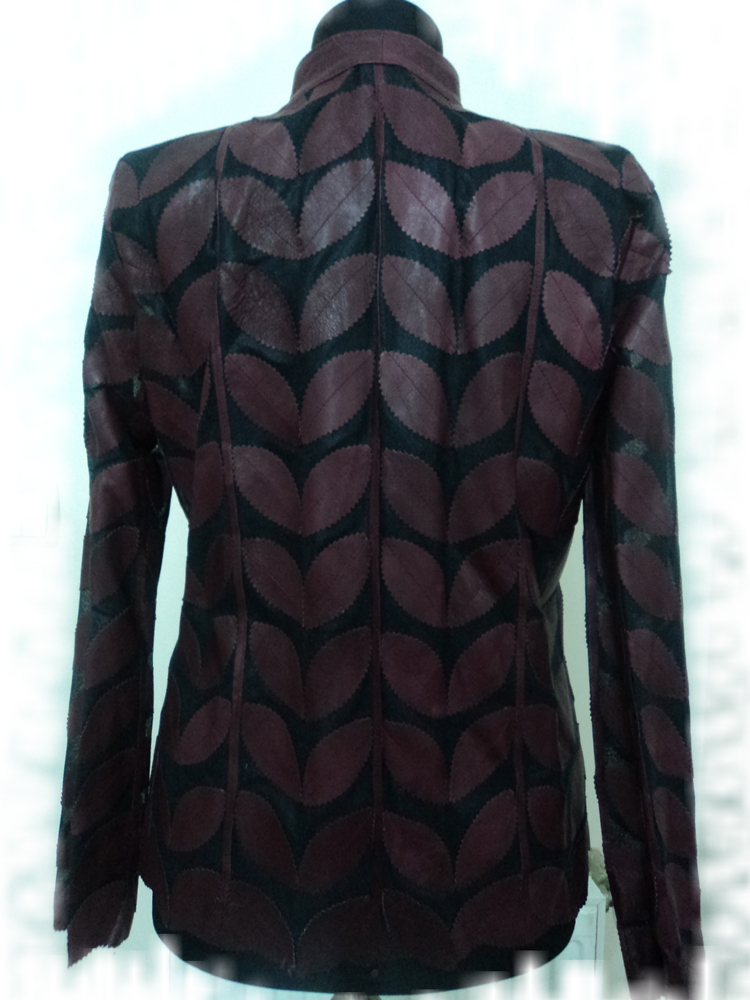 Womens Claret Red Leather Leaf Jacket