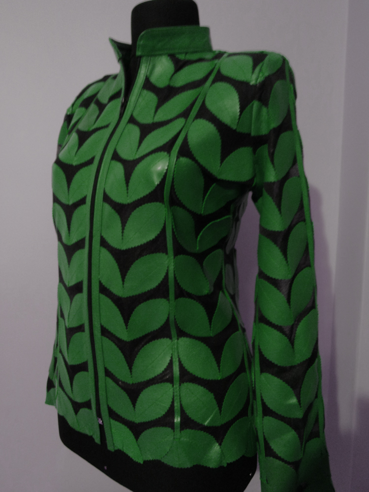 Womens Green Leather Leaf Jacket