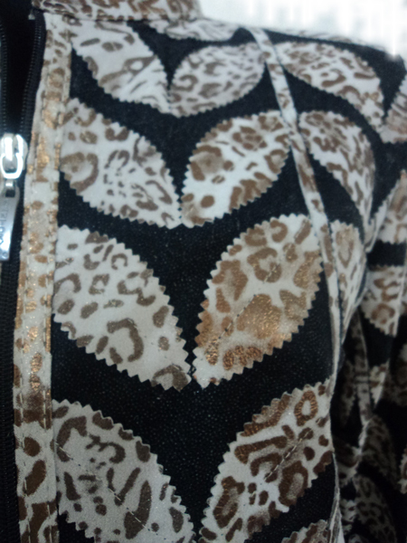 Womens Leopard Leather Leaf Jacket