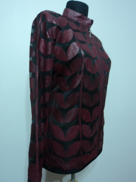 Plus Size Burgundy Leather Leaf Jacket for Women