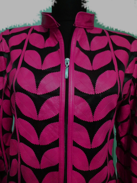 Plus Size Pink Leather Leaf Jacket for Women